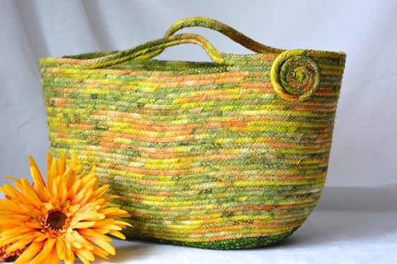 Green Moses Basket, Handmade Batik Fiber Basket, Moss Green Batik Tote, Knitting Yarn Bag, Craft Project Bag, Bali Fabric Moses Basket
