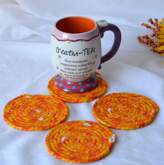 Fun Coaster Set, Handmade Fall Coasters, Halloween Mug Rugs, Decorative Mug Rugs, Fun Mug Rugs, Southwestern Set of 4 Coasters