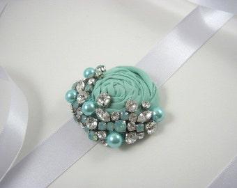 Mint blue bridal sash - crystal sash - maternity sash - mint wedding - wedding accessories