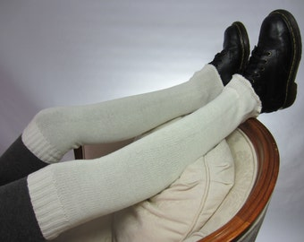 Ivory Boot Socks Thigh High Leg Warmers Long Tall Women White Thick Cotton Sweater Knit A1140
