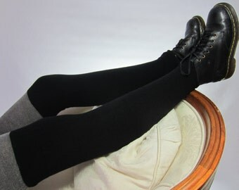 Black Cashmere Leg Warmers Boot Socks Thigh Highs Over the Knee Sock 100% Pure Cashmere A1124