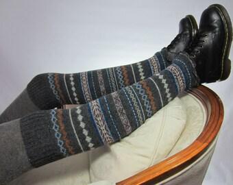 Fair Isle Over the Knee Socks Thigh High Boot Socks Leg Warmers Gray Wool A1578