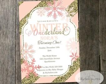 Winter One-derland First Birthday Invitation   Snowflakes, Blush Pink & Gold Glitter Stripes   INSTANT DOWNLOAD Editable Text PDF