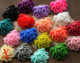 17 pcs Wholesale Beautiful Mix Colorful Rose Flower Resin Cabochon  -17colors-20X23mm(CAB-BW -MIXSS)