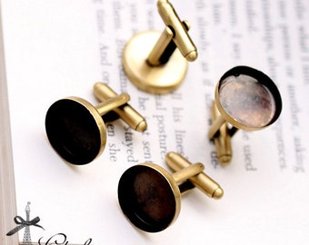 16mm  Antiqued Bronze brass  Cuff Links sleeve button cuff link blank setting With 16mm base(CUL-2)