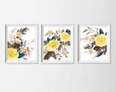 Yellow Flower Watercolor Art Prints , Set of 3 Wall Decor Yellow Flowers , Dining Room Wall Art , Nursery Art Girl, Flower Watercolor Wall