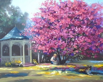 Dogwood tree gazebo painting by RUSTY RUST 24x36 / D-168