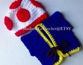 Newborn/0-3 Toad Crochet Hat and Vest Set