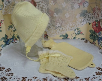 Vintage Yellow Baby Bonnet Booties and Hot Water Bottle
