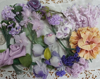 Lot of Vintage and New Lavender and Purple Millinery Flowers 87 Stems