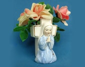Napco Praying Nun Ceramic Vase Figural Planter 2027 Easter Decor 1950s 1960s
