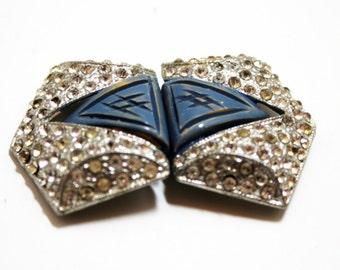Rhinestone Shoe Clip- Bakelite Clip- WMCA Clip- 1940's Fashion- Art Deco- Art Nouveau- Vintage Fashion- Pot Metal- Silver Blue Clip