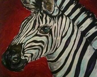 Zebra original oil painting