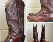 Vintage Bull Rider Boots Cowboy Boots Dark Red Merlot Eel and Leather Stitched Shaft Mens Size 8 Womens Size 10