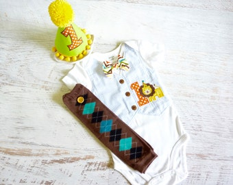 Circus Themed Little Lion First Birthday Bodysuit Vest with Matching Removable Bow Tie