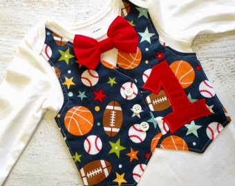 Personalized Sports Themed Baby's First Birthday Tuxedo Bodysuit Vest with Matching Bow Tie