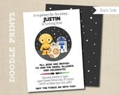 Star Wars Birthday Invitation, Droids BB8 R2D2 C3PO Inspired Invitation, Customized Printable Invitation Party, Galaxy - size 5x7 or 4x6""