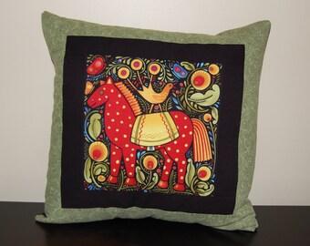 SALE, Folk Art Horse Pillow, Folklorica, Accent Pillow