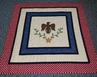 Americana Quilt, Eagle and Laurel, Appliqué and Hand Quilted