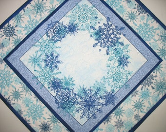 Winter Table Topper, snowflakes, Christmas, quilted,  fabric from Quilting Treasures