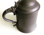 Antique James Yates Hand Turned Pewter Tankard