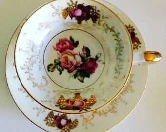 Antique Teacup and Saucer. Footed Teacup Collectible item by Rivera, Hand Painted in Japan