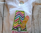 First Day of School Back to School Initial with Pencil Embroidered Personalized Shirt or Bodysuit