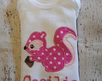Squirrel with Acorn Embroidered Personalized Shirt or Bodysui