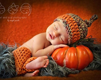 Newborn Photo Prop Baby Fall Hat and Leg Warmers