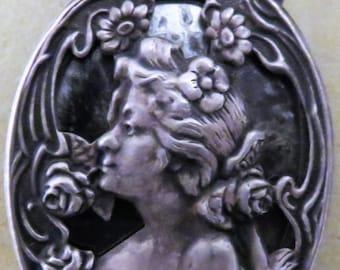 FRENCH Art Nouveau Sliding Mirror Locket / Pendent on Chain... c 1900-20