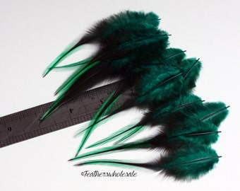 Emerald Green Craft Feather Supplies Green Feather Craft Supplies Bright Green Badger Rooster Real Bird Hackle Holiday Green Feathers - 12