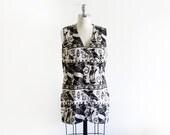 SALE Vintage Linen Printed Vest / Egyptian Pattern