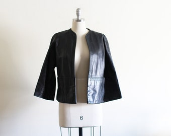 60's Leather Jacket / Open front / Cropped Sleeves/ Classic Look