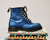 Amazing 90s Dr. Martens Boots Metallic Blue Size Women 8 1/2 9// Vintage Doc Marten Boots Size 6 UK Made in England