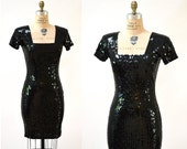 90s VIntage Black Sequin Dress Size Small Medium// 90s Sequin Party Dress in Black size Small Medium// Black Body Con Dress