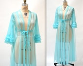 70s Vintage Peignoir Nightgown Size Medium Aqua Blue Wedding Honeymoon Robe // Vintage Sheer Robe Lingerie Something Blue  Size Medium Large