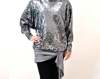 Vintage Metallic Silver Sequin Shirt Size Medium Large// Vintage Metallic Sequin Dress Tunic Size Large Silver Grey Disco Queen