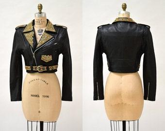 Amazing Vintage Black Leather Biker Jacket with Rhinestones & Gold Studs Size Small Medium// Metallic Studded Black Leather Moto Jacket
