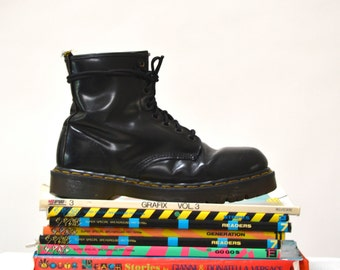 Amazing 90s Black Dr. Martens Boots Size Women 9 9 1/2 10 Leather Boot// Vintage Doc Marten Black Boots Size 7 Uk Made in England