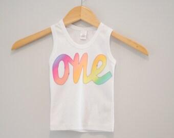 Girls 1st Birthday Tank Top, Cursive Rainbow White Shirt, Birthday Shirt, One Shirt, Applique First Birthday, Ready to Ship, Size 18m