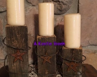 Rustic/Western candle holders -  set of 3