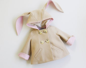 Luxe Bunny Coat// Girls Bunny Coat in Champagne and Pink// Handmade Wool Bunny Coat