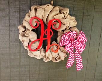 Burlap Wreath, Wreath, Burlap Decor, Bridal Shower Gifts, Bridal Shower Decor