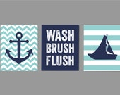Kids Nautical Bathroom Art, Wash Brush Flush Bathroom Art, Navy Gray Bathroom, Bathroom Rules, Boy Bathroom Art  Ask a question