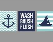 Kids Nautical Bathroom Art, Wash Brush Flush Bathroom Art, Navy Gray Bathroom, Bathroom Rules, Boy Bathroom Art  Ask a question