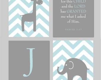 "Blue and Gray Nursery Elephant Nursery Giraffe Nursery Blue and Grey Scripture I prayed for this Child  8""x10"" You Choose Colors"