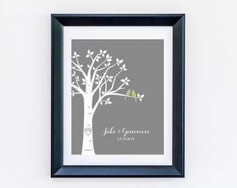 Wedding Gift for Couple PersonalizedLove Birds in Tree with Carved Initials and Names/Wedding Date, 8x10 Family Tree Print You Choose Colors