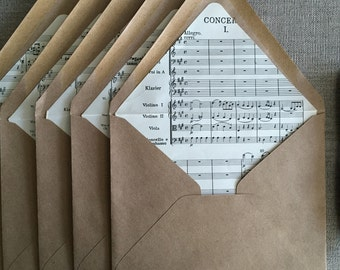Sheet Music Envelope Liners for DIY Wedding or Party Invitations, Letter Writing