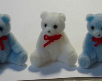 3 mini FLOCKED BEARS soft velvety feel light blue white 1 1/2