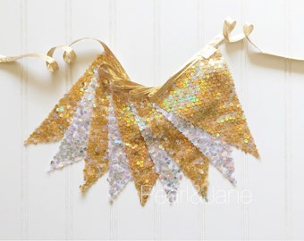 Gold & Silver Sequin Pennant Fabric Banner - Bunting, Party Decoration, Photo Prop
